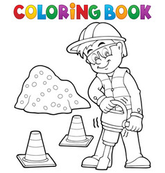 coloring book construction worker 3 vector image