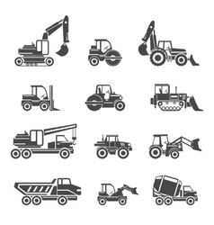 Construction vehicles icons vector