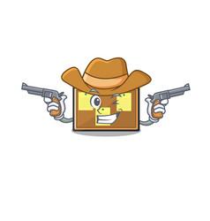 Cowboy bulletin board with cartoon shape vector