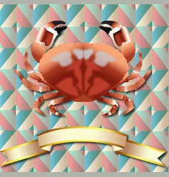 Crab realistic background and gold ribbon vector