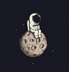 Cute baby-astronaut sits on moon vector