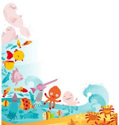 cute underwater animals frame vector image