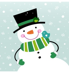 Cute winter Snowman isolated on snowing background vector image