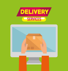 delivery service concept with computer monitor vector image