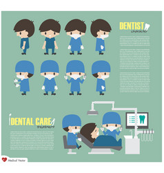dentist cartoon character and dental care unit in vector image