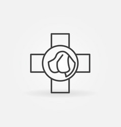 dog head in cross line icon vector image