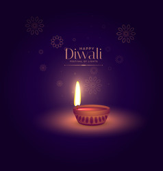 elegant happy diwali background with light vector image