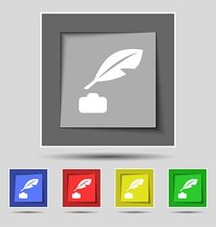Feather Retro pen icon sign on the original five vector image