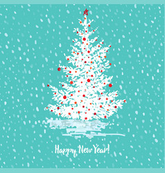 festive new year card fir tree with red balls on vector image