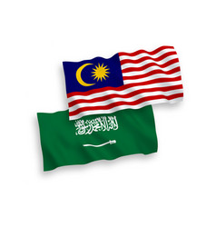Flags saudi arabia and malaysia on a white vector