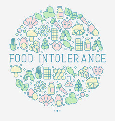 Food intolerance concept in circle vector