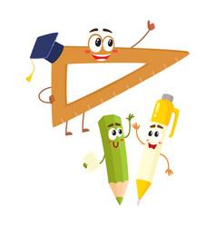 Funny smiling pen pencil ruler characters back vector