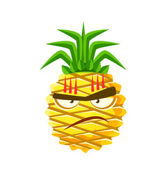 furious pineapple face cute cartoon emoji vector image