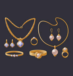 Golden jewelry collection expensive accessories vector