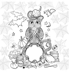 halloween coloring page with owl in hat witch vector image