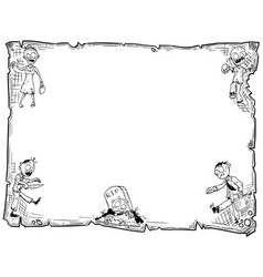 Halloween frame old scroll sheet with zombies vector