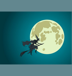 halloween witch with big nose flies on broomstick vector image