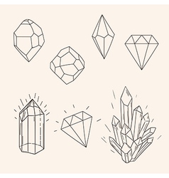 Hand drawn set sketch crystaldiamond and polygonal vector image