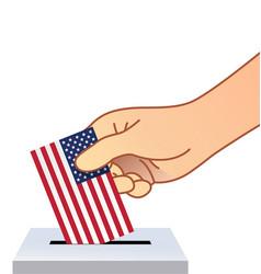 hand placing vote ballot in ballot box usa flag vector image