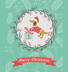 Holiday postcard with funny dachshund and gift vector