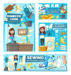 housewifes doing housework laundry and cooking vector image