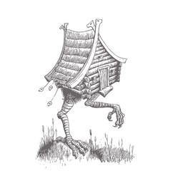 Hut on chicken legs goes through the swamp vector