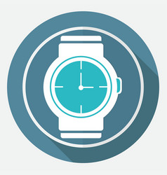 Icon wristwatch on white circle with a long shadow vector