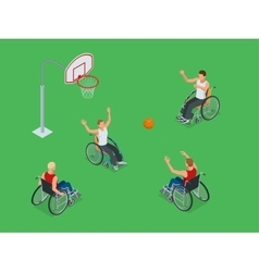 Isometric Active healthy disabled men basketball vector