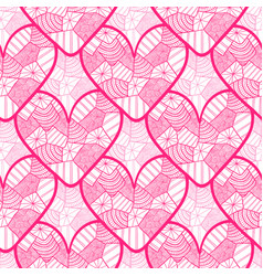 Lace seamless pattern with ornamental hearts vector