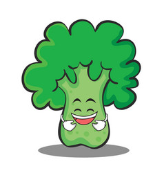 Laughing broccoli chracter cartoon style vector
