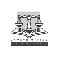 Lawyer office colorless logo label isolated vector