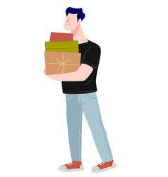 male character shopping holding boxes and gift vector image