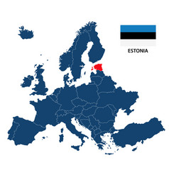Map of europe with highlighted estonia vector