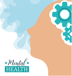 Mental health day human head brain gears solution vector