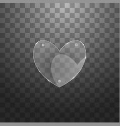 Modern glass heart on sample background vector