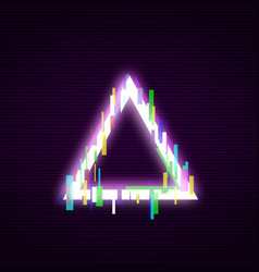 neon triangle with glitch effect abstract style vector image