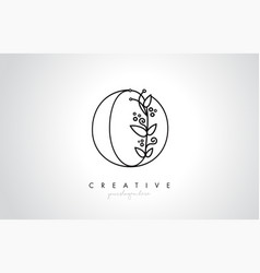 O letter logo with organic monogram plant leafs vector