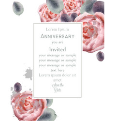 Peony flowers card watercolor floral decor vector