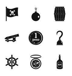 Pirates icon set simple style vector