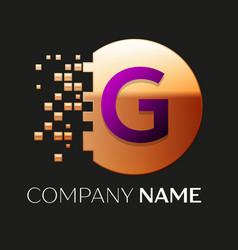 Purple letter g logo symbol in golden pixel circle vector