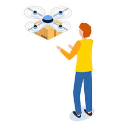 quadrocopter delivery modern post technology vector image