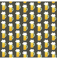 Seamless pattern orange beer mug on a brown vector