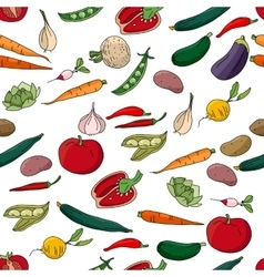 Seamless pattern with different fresh vegetables vector image