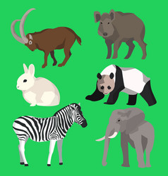 Set animals goat wild boar panda rabbit zebra vector