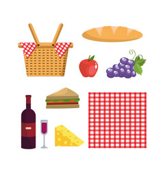 set basket and tablecloth decoration and food vector image