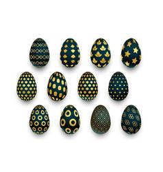 set black and golden pattern easter eggs vector image