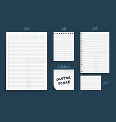 Set crumpled four standart blank guitar score vector