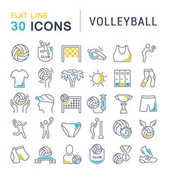 set line icons volleyball vector image