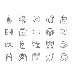 set love and valentines day line icons hearts vector image