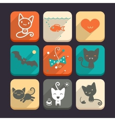 Set of cats and animal icons Part 2 vector image